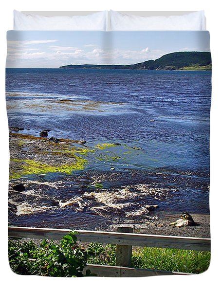 Fence Along Rocky Harbour-nl Duvet Cover