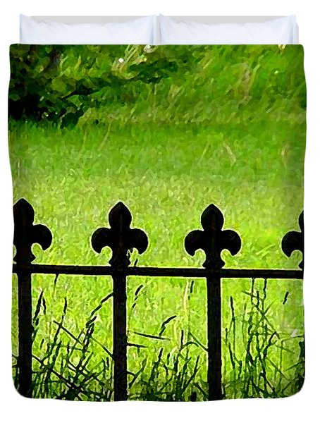 Fence And Cross Duvet Cover
