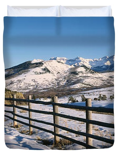 Fence On A Landscape, Telluride Duvet Cover