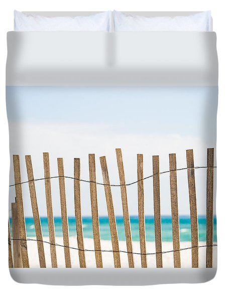 Fence On The Beach Duvet Cover by Shelby  Young