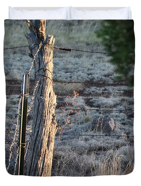 Duvet Cover featuring the photograph Fence Post by David S Reynolds