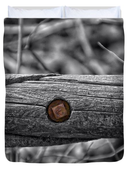 Fence Rail With Rusty Bolt Duvet Cover by Thomas Woolworth