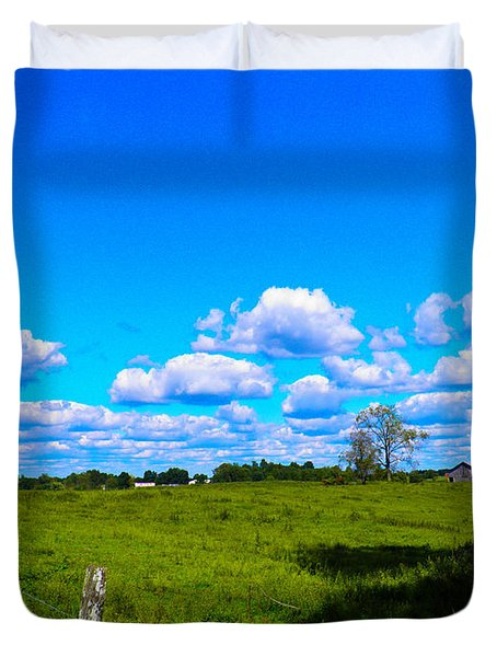 Fence Row And Clouds Duvet Cover