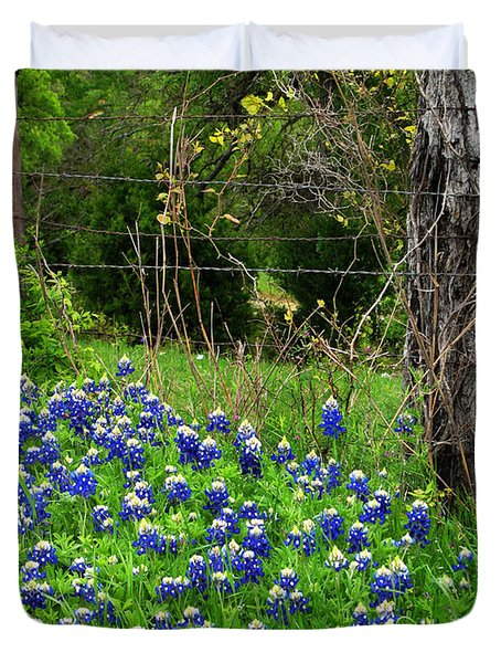 Fenced In Bluebonnets Duvet Cover by David and Carol Kelly