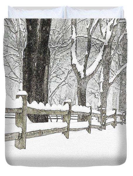 Fenced In Forest Duvet Cover by John Stephens