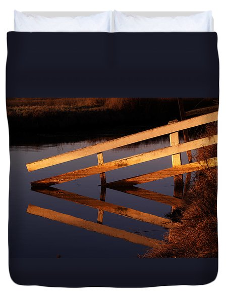 Fenced Reflection Duvet Cover by Bill Gallagher