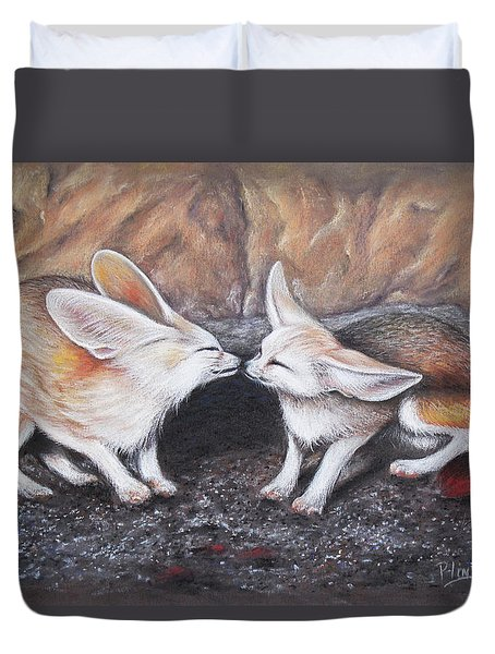 Duvet Cover featuring the drawing Fennec Love by Patricia Lintner
