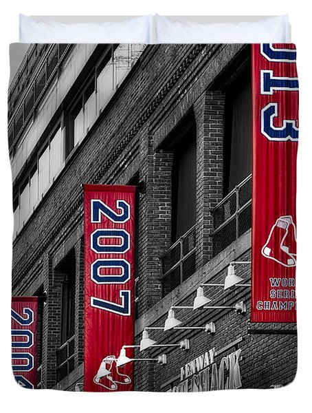 Duvet Cover featuring the photograph Fenway Boston Red Sox Champions Banners by Susan Candelario