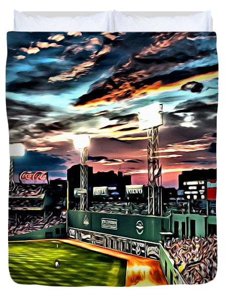Fenway Park At Sunset Duvet Cover