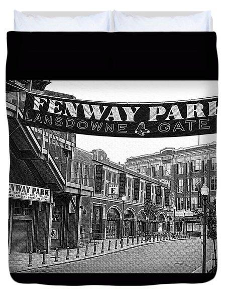 Fenway Park Banner Black And White Duvet Cover