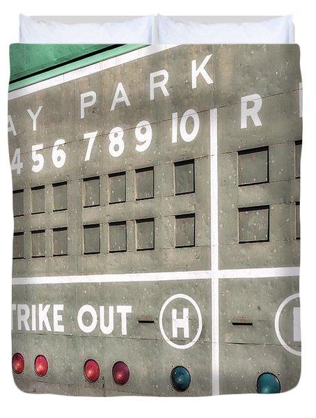 Fenway Park Scoreboard Duvet Cover by Susan Candelario