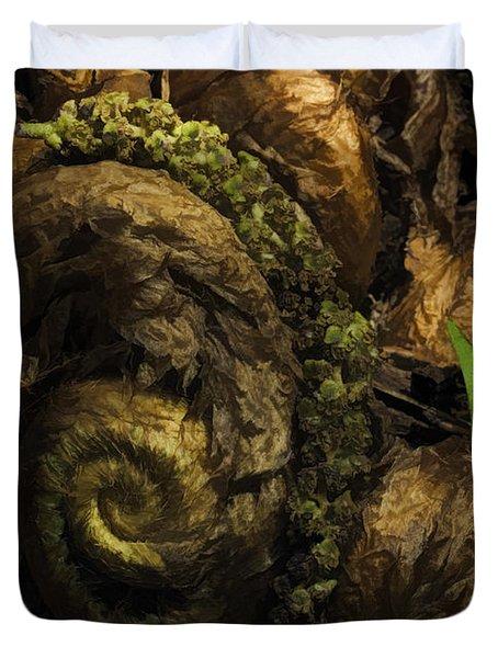 Fern Headdress Duvet Cover by Jean OKeeffe Macro Abundance Art