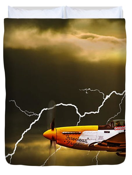Duvet Cover featuring the photograph Ferocious Frankie In A Storm by Meirion Matthias