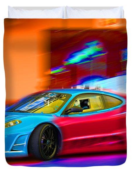 Duvet Cover featuring the photograph Ferrari Baby Blue by Gunter Nezhoda