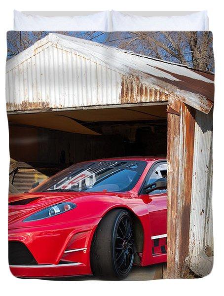 Duvet Cover featuring the photograph Ferrari by Gunter Nezhoda