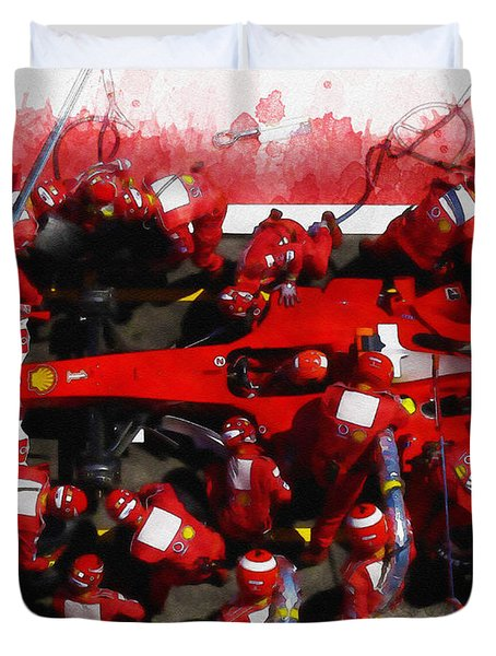Ferrari Make Changes In Pit Lane Duvet Cover