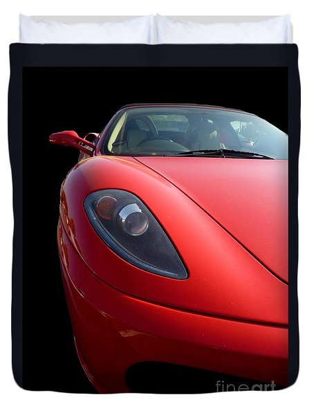 Duvet Cover featuring the photograph Ferrari by Vicki Spindler