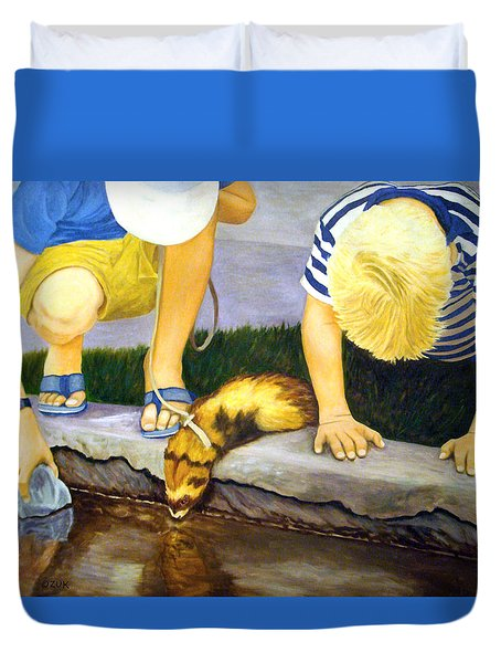 Duvet Cover featuring the painting Ferret And Friends by Karen Zuk Rosenblatt