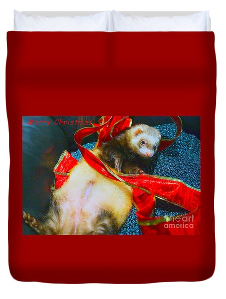 Duvet Cover featuring the photograph Ferrety Christmas IIi by Cassandra Buckley