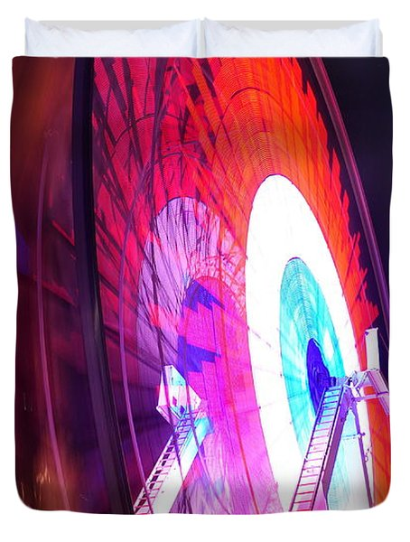 Duvet Cover featuring the digital art Ferris Wheel by Gandz Photography