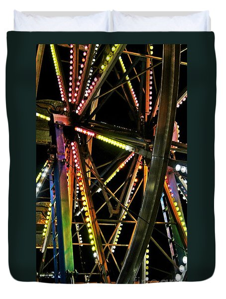 Duvet Cover featuring the photograph Lit Ferris Wheel  by Lilliana Mendez