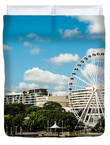 Ferris Wheel On The Brisbane River Duvet Cover