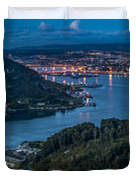 Ferrol's Estuary Panorama From La Bailadora Galicia Spain Duvet Cover by Pablo Avanzini