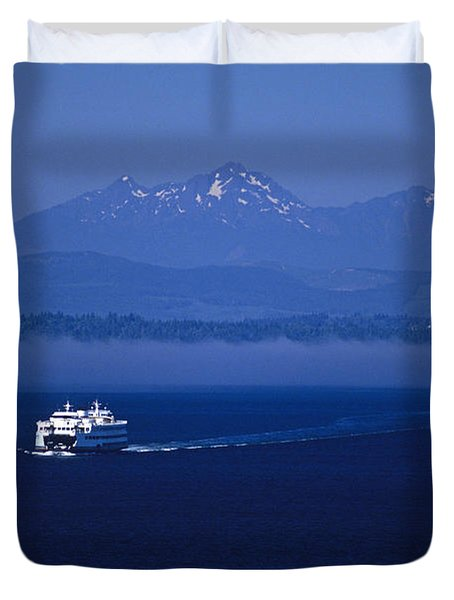 Ferry Boat In Puget Sound With Olympic Mountains Duvet Cover