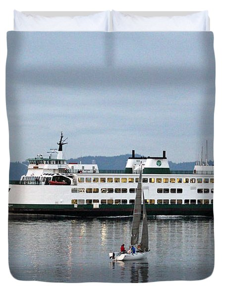 Duvet Cover featuring the photograph Ferry Issaquah And Sailboats by E Faithe Lester