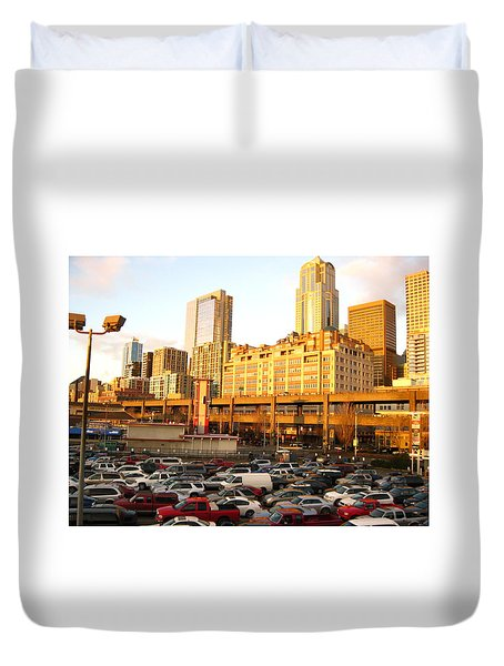 Ferry Lines At Sunset Duvet Cover