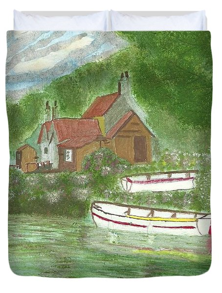 Duvet Cover featuring the painting Ferryman's Cottage by Tracey Williams