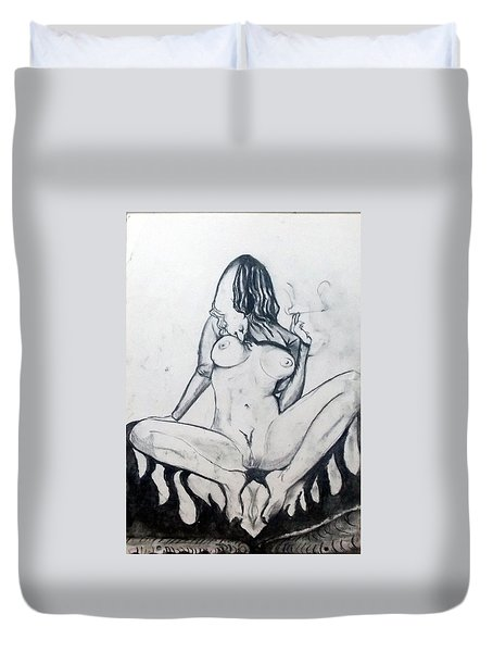 Duvet Cover featuring the drawing Fertility Fertilidad by Lazaro Hurtado