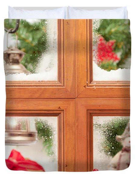 Festive Christmas Window Duvet Cover