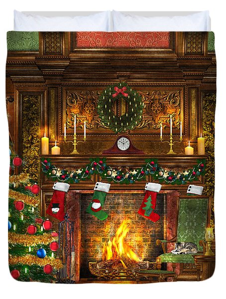 Festive Fireplace Duvet Cover by Dominic Davison