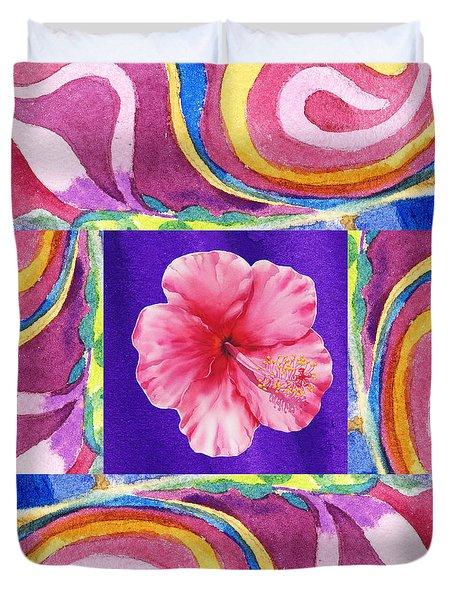 Festive Floral Hibiscus  Duvet Cover