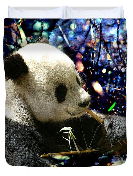 Festive Panda Duvet Cover by Mariola Bitner