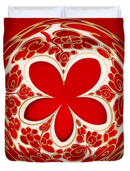 Festive Star Bauble Orb Duvet Cover by Anne Gilbert