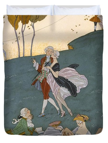 Fetes Galantes Duvet Cover by Georges Barbier