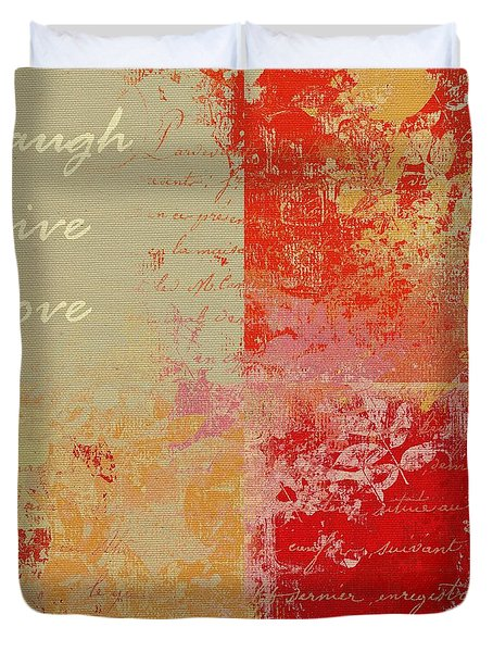 Feuilleton De Nature - Laugh Live Love - 01at01 Duvet Cover by Variance Collections