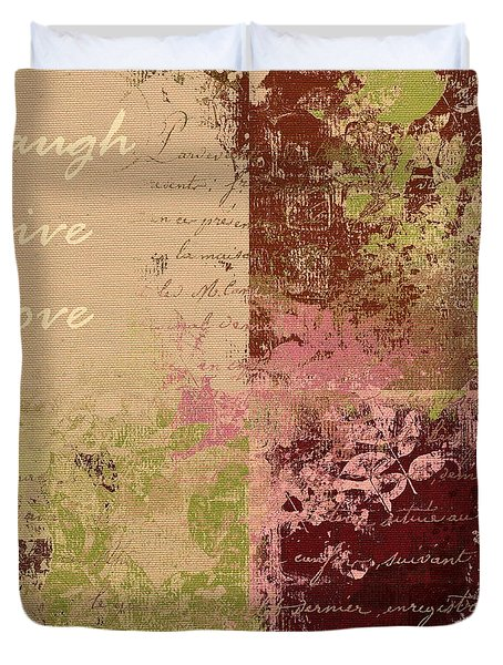 Feuilleton De Nature - Laugh Live Love - 01c4at Duvet Cover by Variance Collections