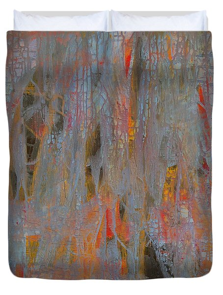 Duvet Cover featuring the painting Fibres Of My Being by Mini Arora