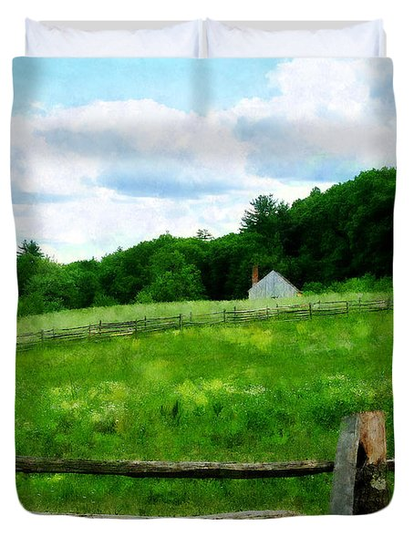 Field Near Weathered Barn Duvet Cover by Susan Savad