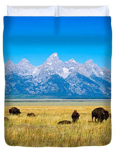 Field Of Bison With Mountains Duvet Cover