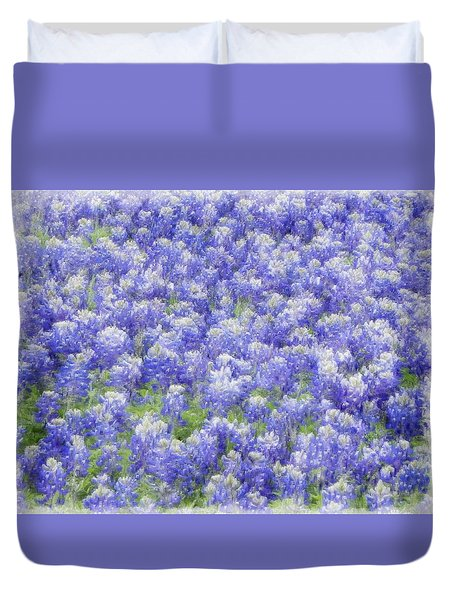 Duvet Cover featuring the photograph Field Of Bluebonnets by Kathy Churchman