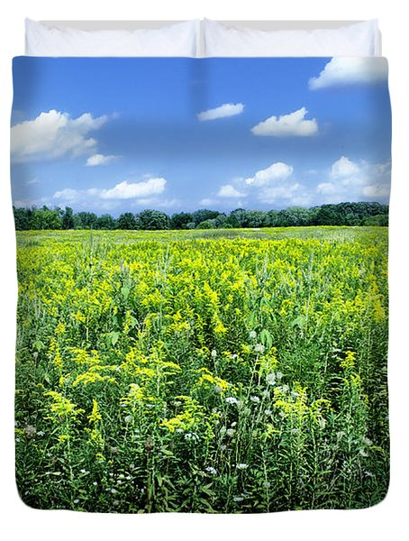 Field Of Flowers Sky Of Clouds Duvet Cover