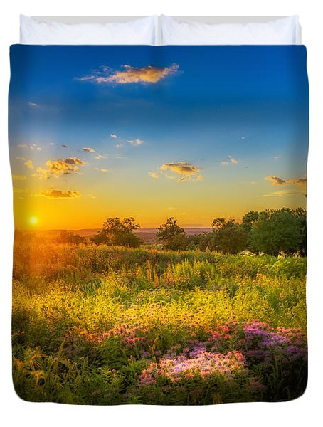 Field Of Flowers Sunset Duvet Cover by Mark Goodman