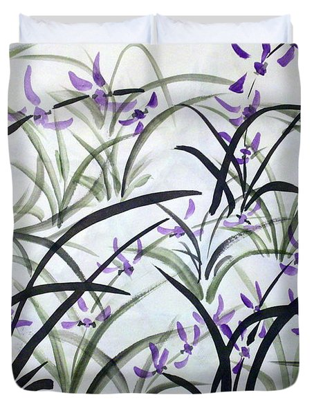 Field Of Orchids Duvet Cover