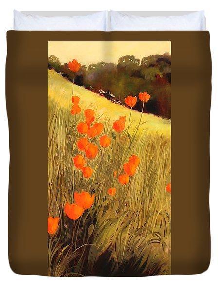 Field Of Poppies Duvet Cover by Sue  Darius