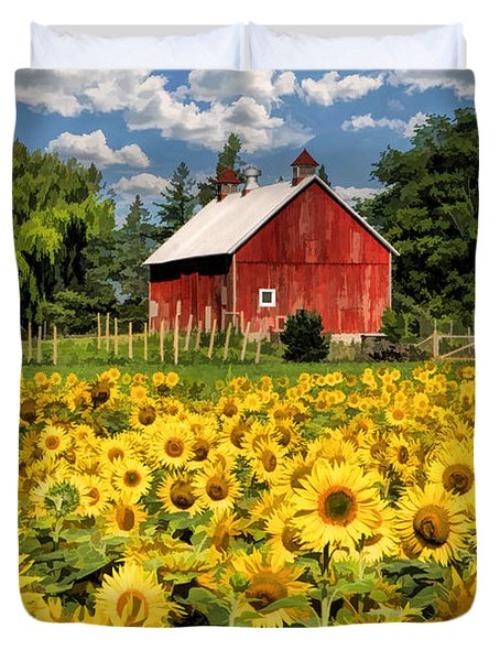 Field Of Sunflowers Duvet Cover by Christopher Arndt