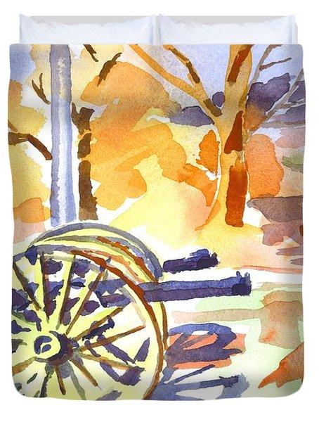 Field Rifles In Watercolor Duvet Cover
